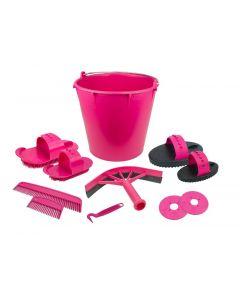 Hofman Zestaw polerowany z 10 przedmiotami w wiaderku różowym